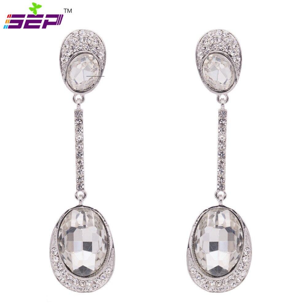 2015 Vintage Drop Dangle Earrings Bridal Wedding Earrings For Women Jewelry  Rhinestone Austrian Crystal Designer Brand