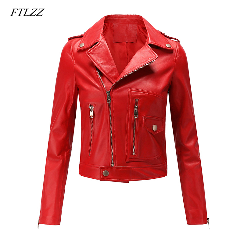 FTLZZ Women Motorcycle Pu   Leather   Jacket Winter And Spring Black Red Faux   Leather   Coat Turn Down Collor Lady Outerwear