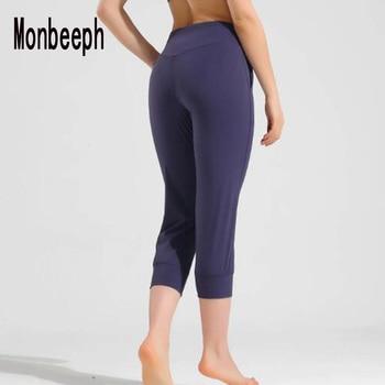 Monbeeph Women Capris 4 way Stretch Fabric Boot Cut Casual Leggings with Outside Pockets Wide Leg Leggings