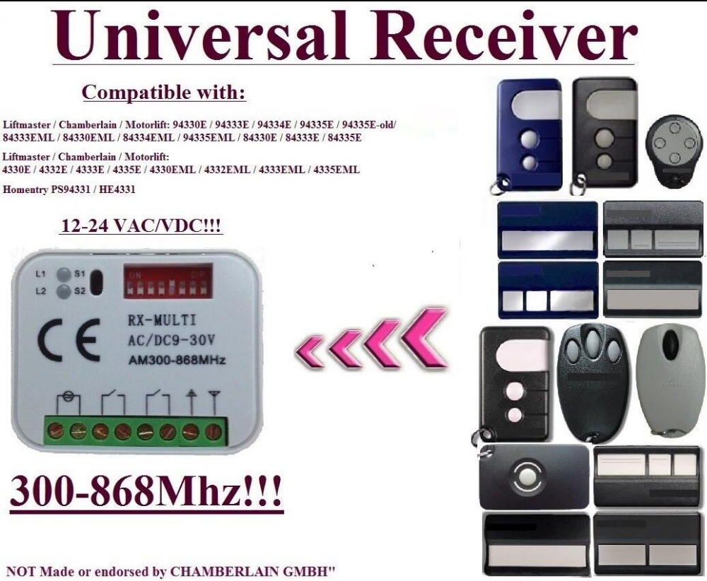 433,92MHz 2-channel Receiver For Liftmaster / Chamberlain / Motorlift / HOMNTRY Remote Controls