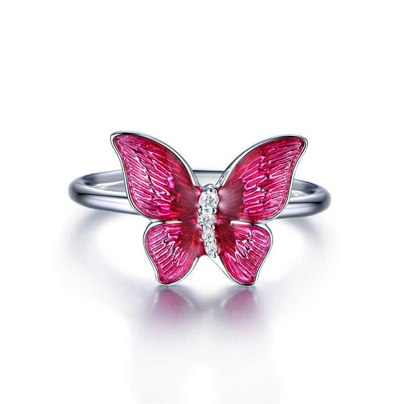 OMHXZJ סיטונאי אירופאי אופנה אישה ילדה מסיבת חתונה מתנה אדום פרפר אמייל AAA זירקון 925 כסף סטרלינג טבעת RR134