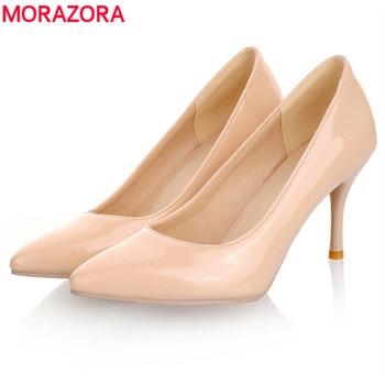 MORAZORA Большие размеры 34-45, 2018 г. Новые модные женские туфли-лодочки  на высоком каблуке, классические белые, красные, бежевые пикантные свадебн. 62a74d58b77
