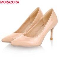 MORAZORA Duży Rozmiar 34-45 2018 Nowych Moda wysokie obcasy kobiety pompy cienki heel klasyczny biały czerwony nede beżowy sexy prom buty ślubne