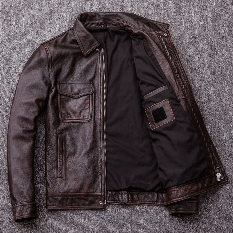 MAPLESTEED Brand Vintage Leather Jacket Men 100% Cowhide Red Brown Black Natural Leather Jackets Men's Leather Coat Autumn M174