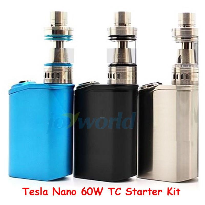 100% Authentic Tesla Nano 60W TC Box Mod Starter Kit 3600mah Battery Vapor Mod with Tornado Sub Ohm Tank vs kanger evod mega YY (1)