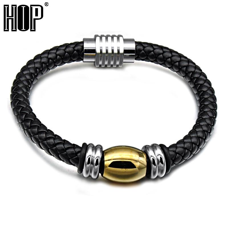 HIP Mens Geunine Leather Bracelet Stainless Steel Magnet buckle Bead Bracelets Bangles for Men Jewelry Black Brown Color