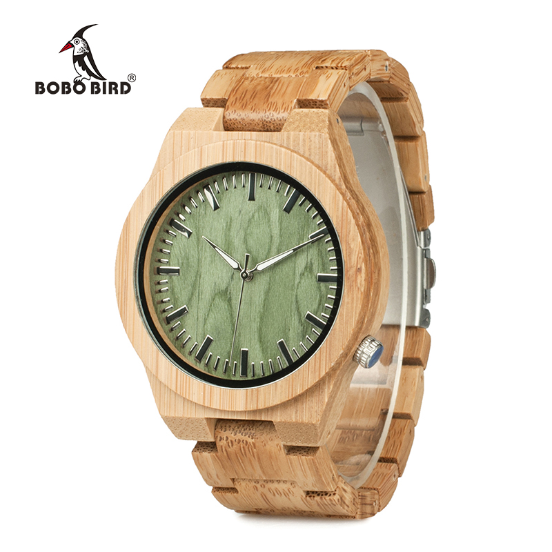 New Arrival Original Bamboo Wood Men's Wristwatch Classic Folding Clasp Quarzt Movement Wrist Watch