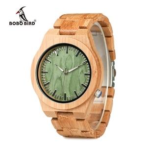 Image 1 - BOBO oiseau V B22 Original bambou montre pour homme classique pliant fermoir Quartz mouvement montre bracelet erkek kol saati