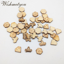 WISHMETYOU 50PCS Crystal Stone/ Dice/ Crown Natural Wooden Slices Embellishment Scrapbooking Decor Pattern Creative Wood Crafts