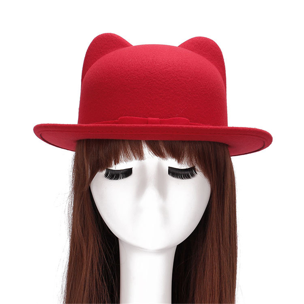 2f767a50 Brand New Boater Flat Top Hat Fedoras Jazz Hat Cat Ear Cute Girls Hat Fall  Winter Wool Felt Women's Fedoras Cap Women 57 58cm-in Women's Fedoras from  ...