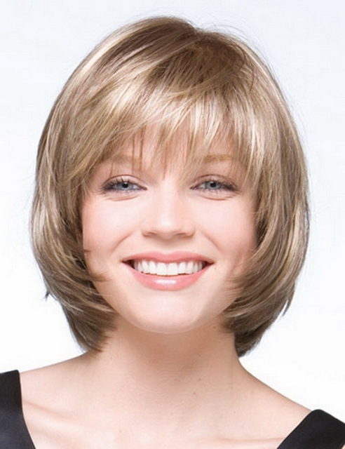 Wholesale 10inch blonde straight short bob wigs for black women, african american short wigs with bangs free ship