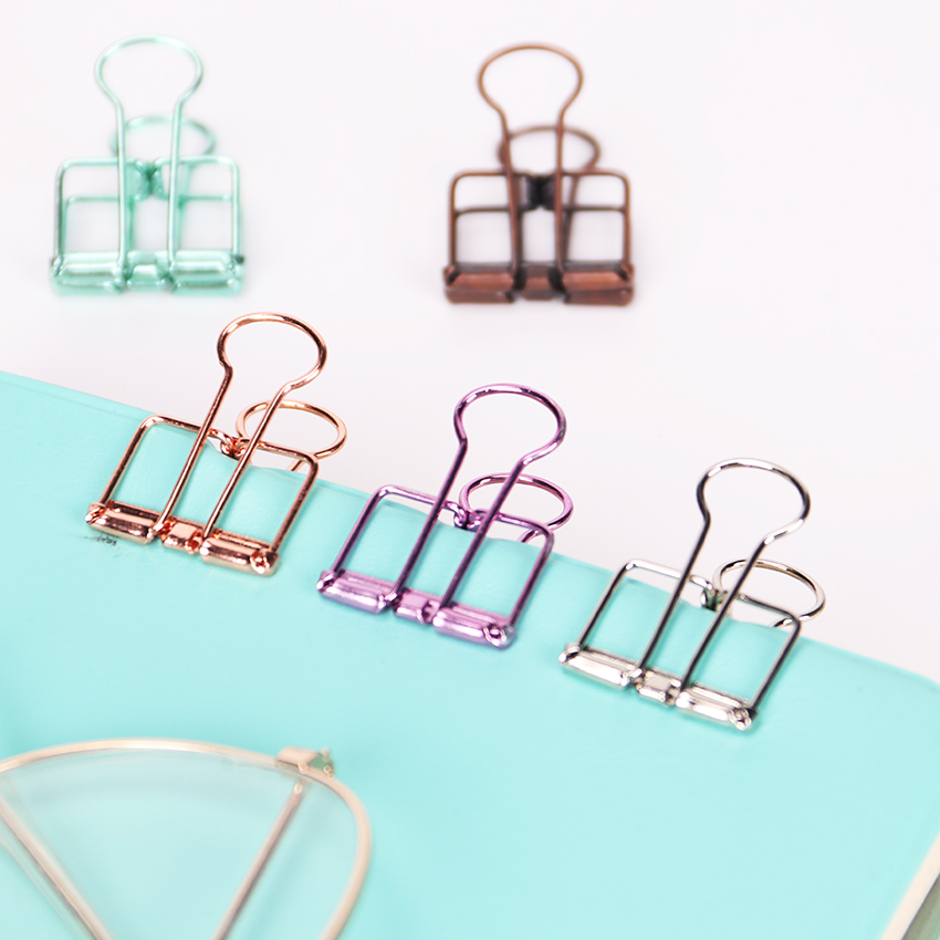 10PCS Novelty Solid Color Hollow Out Metal Binder Clips 20mm Notes Letter Paper Clips Office Stationery Supplies