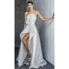 Eightree Strapless Asymmetric Neckline Evening Dress High Low Skirt Wedding Party Dress Bow Waist Modern Clean Minimalist plunging neckline high low midi dress
