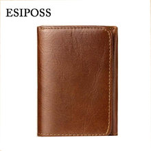 esiposs DENIM 2016 New Hot High Quality Genuine Leather Wallet Men Wallets Vintage Organizer Purse Billfold Zipper Coin Pocke(China)