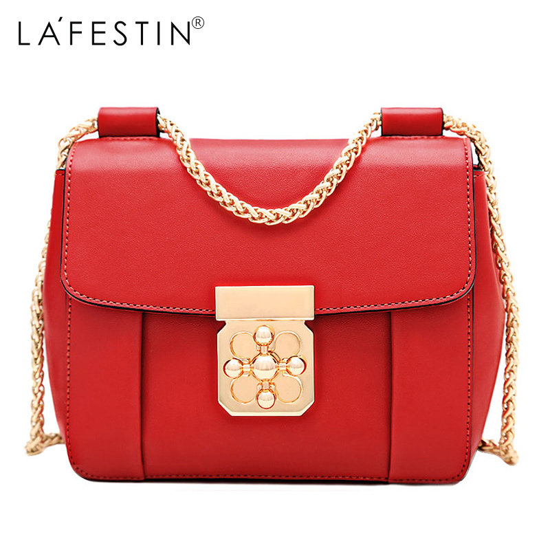 2017 New Summer LA FESTIN Female Cover Genuine Leather Bag Satchel Leather Mini Shoulder Chain Women