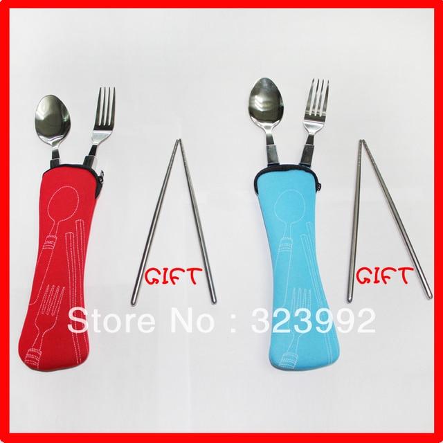 ZK tableware set traval spoon chopsticks forks 3pcs/set portalbe dinnerware travel stainless steel hardware free shipping