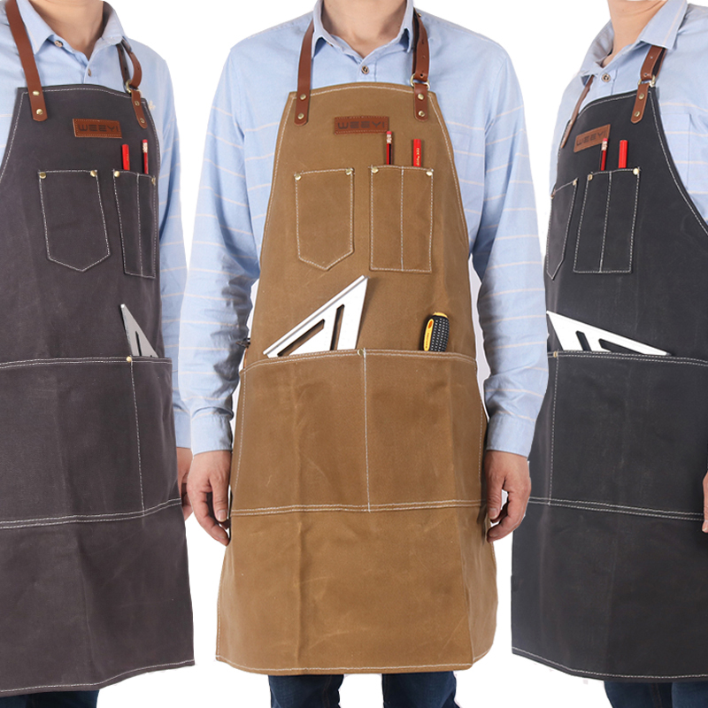 WEEYI Vintage Heavy Waxed Canvas Apron For Barber Carpenter With Leather Strap Women Men Working Apron BBQ Grill Aprons Delantal