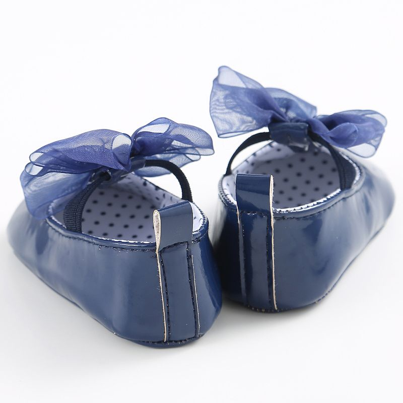 Baby Crib Lace-up Shoes Cute Baby Girls Lace Bow PU Leather Frist Walkers Shoes Bebe Soft Soled Non-slip Footwear