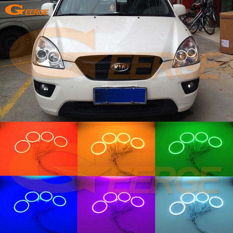 For KIA Carens 2006 2007 2008 2009 2010 2011 2012 Excellent Multi-Color Ultra bright RGB LED Angel Eyes kit Halo Rings motocross dirt bike enduro off road wheel rim spoke shrouds skins covers for yamaha yzf r6 2005 2006 2007 2008 2009 2010 2011 20