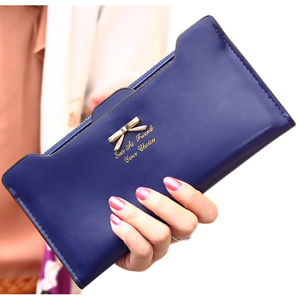 DCOS Fashion Soft Leather women wallets Bowknot Clutch bag Long PU Card Purse,wallet for womens auau soft leather women wallets bowknot clutch bag long pu card purse wallet for womens rose red