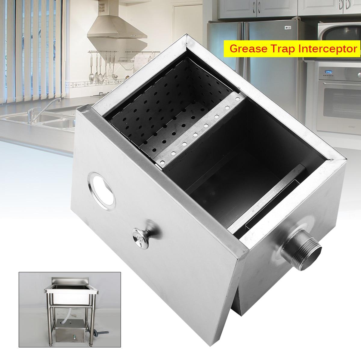 Ensemble d'intercepteur de piège à graisse d'acier inoxydable conception détachable pour les eaux usées de cuisine de Restaurant déflecteurs amovibles 2 tailles simples