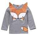 Criança Crianças Primavera/Outono Bonito Raposa Dos Desenhos Animados T-shirt Infantil Do Bebê Das Meninas Dos Meninos de Manga Comprida t-shirt Roupas Roupas Casuais