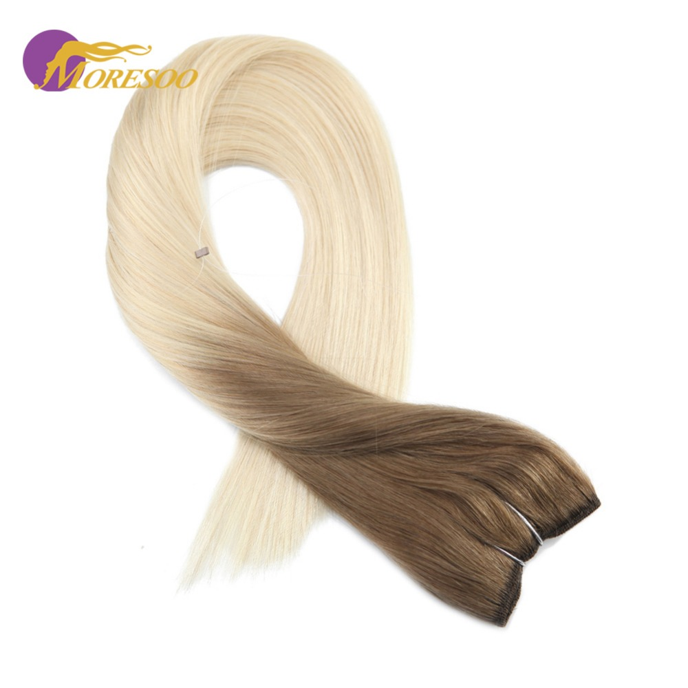 Moresoo 12-22 Inch Ombre Color Brown #6 Fading To #613 Flip In Extension Real Remy Human Extension Fishing Line Hair 50-100G