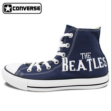 Classic Blue Converse All Star The Beatles Abbey Road Design Custom Hand Painted Shoes Men Women High Top Canvas Sneakers
