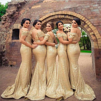 Robe demoiselle d'honneur Mermaid Gold Mermaid Bridemaid Dresses Off The Shoulder Full Sequined Prom Dresses Party Gowns