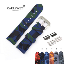 CARLYWET 22 24mm Camo Green Blue Black Waterproof Silicone Rubber Replacement Watch Band Loops Strap For Panerai Luminor carlywet 22 24mm top quality luxury camo waterproof silicone rubber replacement wrist watch band loops strap for panerai luminor
