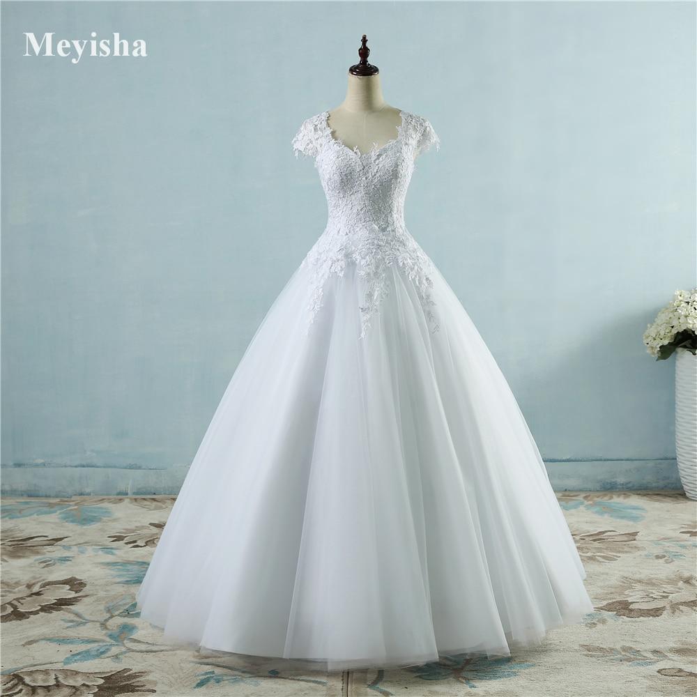 ZJ9085 lace White Ivory Short Cap Sleeve Wedding Dresses 2019 for bride bridal gown Vintage plus