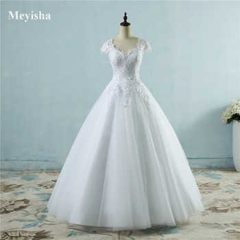 ZJ9085 lace White Ivory Short Cap Sleeve Wedding Dresses 2019 for bride bridal gown Vintage plus size maxi Customer made - DISCOUNT ITEM  28% OFF All Category