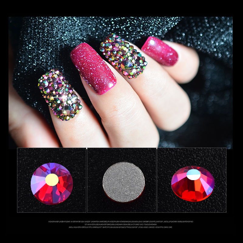 1pack Mixed Size Ab Color 3d Nail Art Rhinestone Decorations Ss4