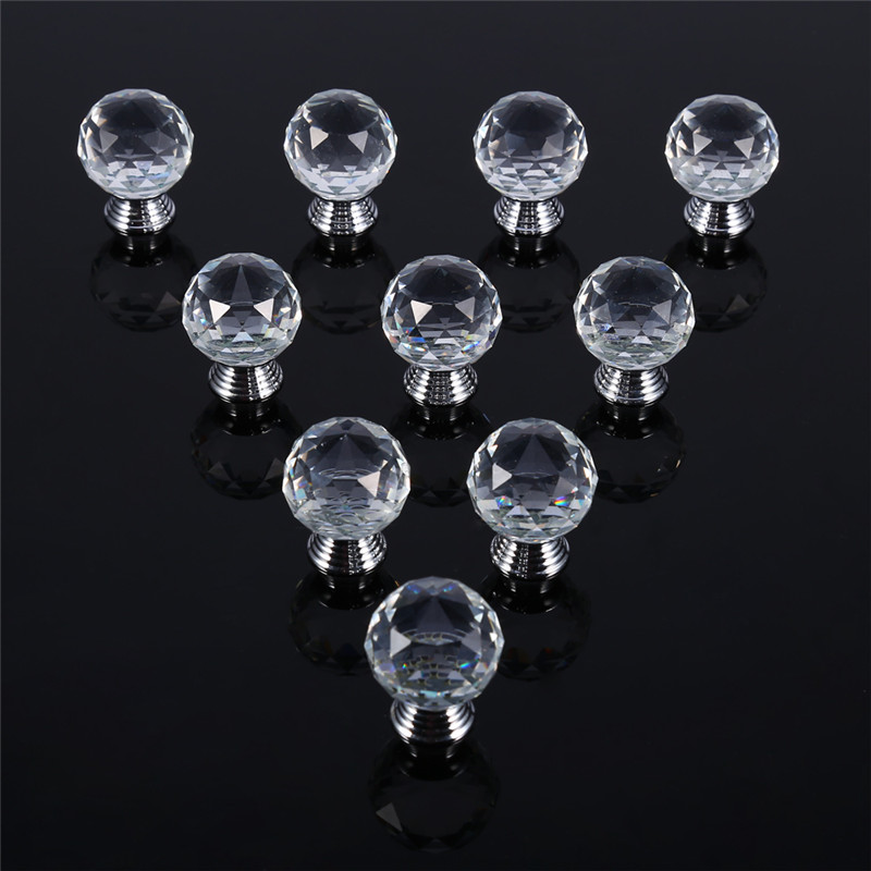 10pcs 2030mm clear crystal glass cabinet knob wardrobe door pull drawer cupboard handle home - Decorative Cabinet Knobs