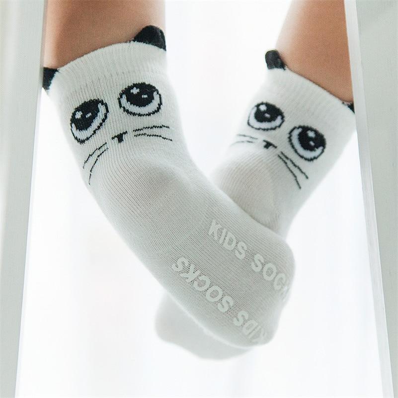 6 Color Baby Socks Toddler Anti Slip Cute Cartoon Cat Ear Sock Boys Girls Skid Resistance Leg Warmers 2016 New Arrivals