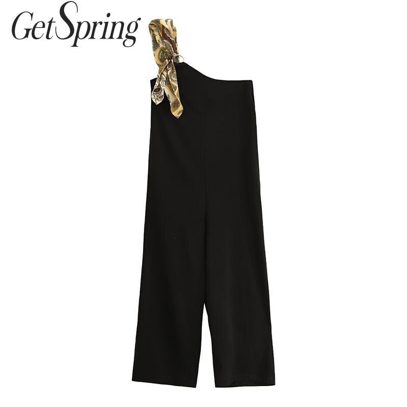 GETSPRING femmes combinaison Patchwork imprimé couleur correspondant barboteuses irrégulières femmes combinaison noir épaule dénudée body femmes