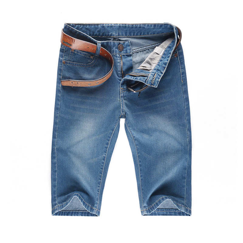 Summer Men's Denim Jeans Straight Slim Fit Shorts Mid Waist Cotton Biker Jeans Cargo Casual Skinny Pants Trousers Designer 2016 new summer thin fashion blue denim shorts jeans male straight knee length trousers men lightweight short jeans for teenager