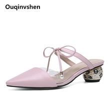 Ouqinvshen Pointed Toe Plus Size Shoes Women Crystal Yellow Lace Up Leather Summer Slippers Strange Style Sexy Slippers 2019