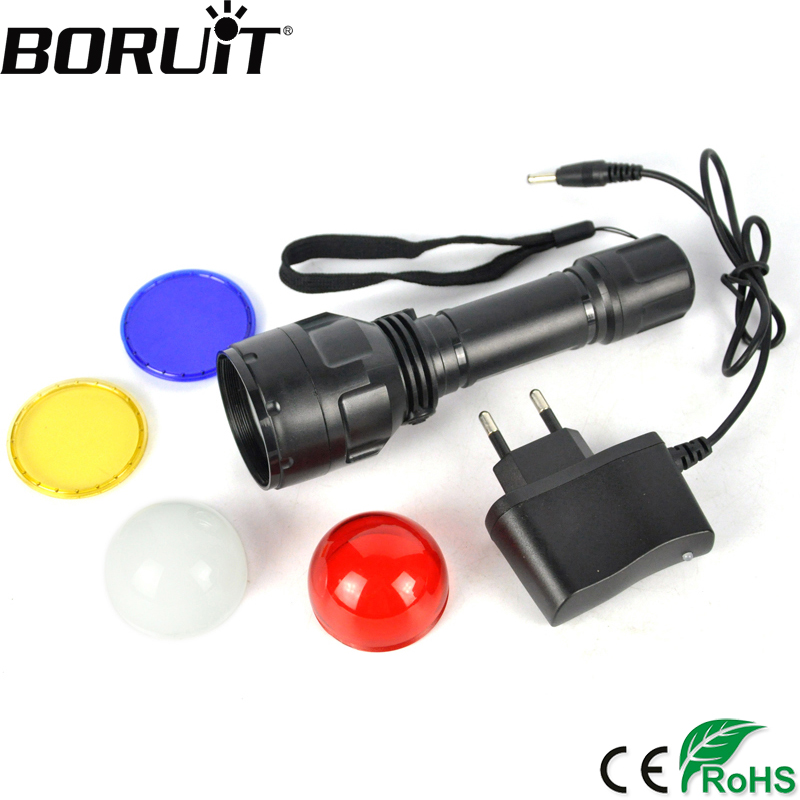 BORUiT 2000LM LED Bead Flashlight 3-Mode RechargeableTorch Lithium Ion Battery Lamp with 4 Lense for Change Color Lantern 3 6v 2400mah lithium battery pack for psp slim 2000