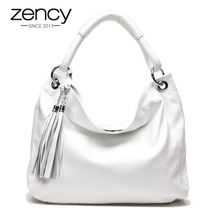 Zency 10 Fashion Colors 100% Soft Genuine Leather Tassel Women's Handbag Ladies Shoulder Bags Messenger Satchel Crossbody Purse