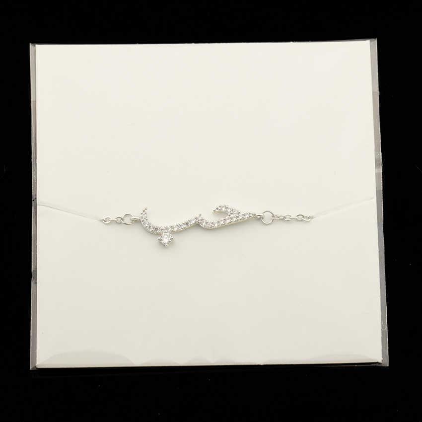 Cristal completo cita en pulseras árabes para mujeres joyería de compromiso de acero inoxidable cadena llena de oro amistad Bracciali Donna