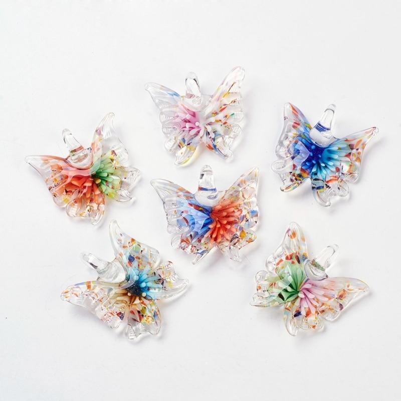 FREE Wholesale 12pcs papillon fleur Lampwork verre Pendentifs À faire soi-même Collier #55