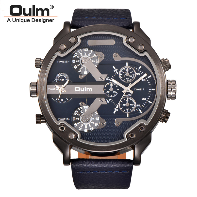 Oulm Super Big Quartz Watches Men Luxury Brand Large Dial Two Time Zone Male Clock Casual PU Leather Men's Wrist Watch relogio mens watches top brand luxury oulm 3130 dual time large dial watches leather band casual quartz watch relogio masculino grande