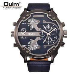 Oulm Super duże zegarki kwarcowe mężczyźni luksusowa marka duży Dial dwa strefa czasowa mężczyzna zegar na co dzień PU skórzane męskie zegarek na rękę relogio