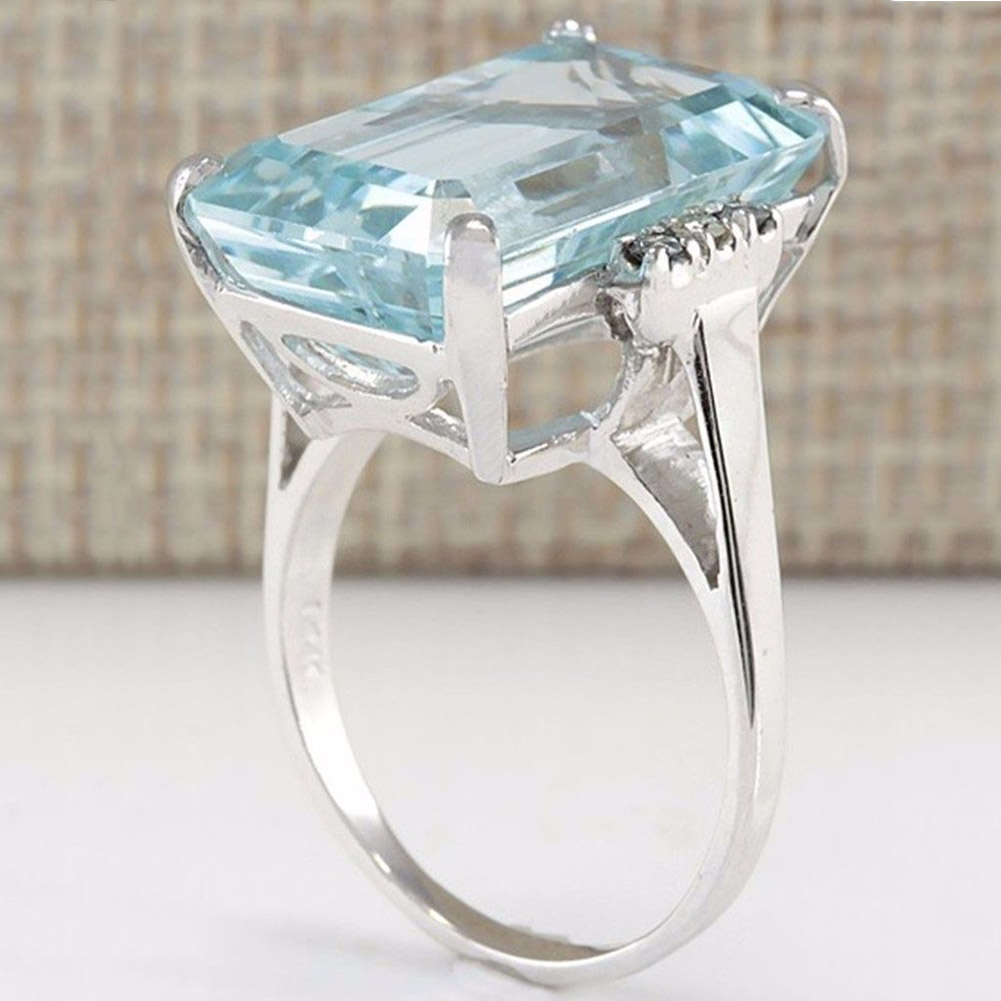 Luxury Created Blue Zircon Crystal Ring Genuine Silver Color Ring For Fashion Women