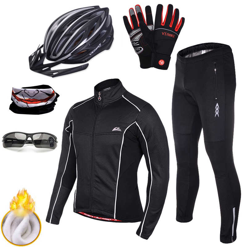 Waterproof Wind Coat Winter Cycling Clothing Jersey Set Thermal Fleece  Bicycle Clothes Windproof Bike Jacket Pants af59cab8e