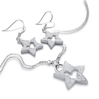Fashion Sterling Silver Set Jewelry Solid 925 Silver Star Mickey Earrings Necklace Set Charm Woman Wedding Accessories Gifts