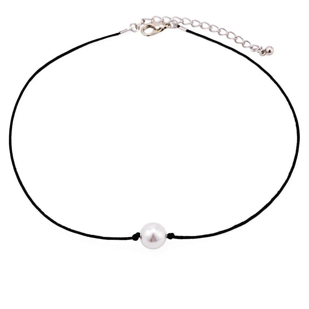 Darmowa wysyłka vintage imitacja perły Choker naszyjnik koreańska, czarna lina aksamitny kołnierz skórzany collier femme chocker biżuteria