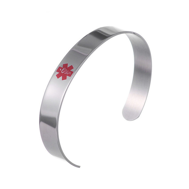 Stainless Steel Red Id Medical Alert Bangle Bracelet Open Design Uni Jewelry Diabetic Identification Cuff