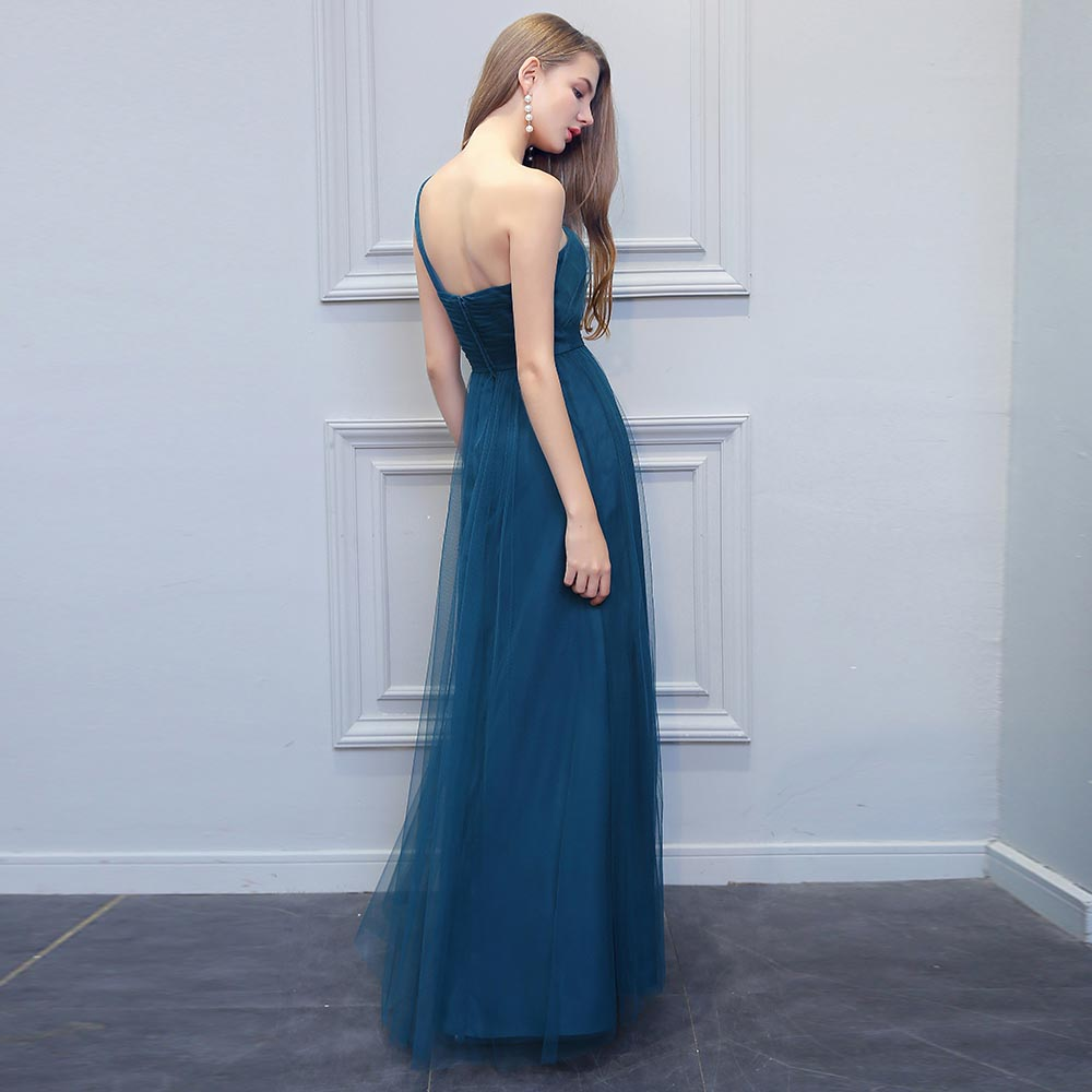 BeryLove Long One Shoulder Evening Dresses Simple Teal Tulle Prom Dresses  2018 Women Formal Dress Special Occasion Gowns-in Evening Dresses from  Weddings ... 3b0692f1285b